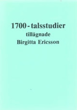1700-talsstudier tillägnade Birgitta Ericsson