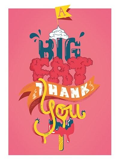 Big fat thank you : dubbla kort med kuvert 6-pack
