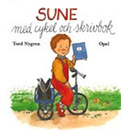 Sune med cykel och skrivbok