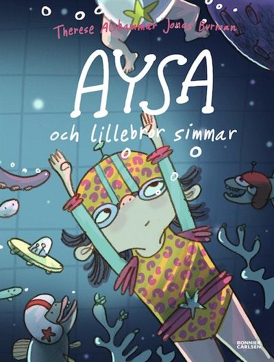 Aysa och lillebror simmar