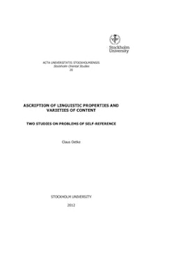 Ascription of linguistic properties and varieties of content : two studies on problems of self-reference